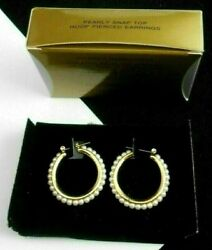 GORGEOUS AVON PEARLY SNAP TOP HOOP PIERCED EARRINGS WITH  FAUX PEARLS NOS