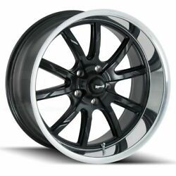17x8 Matte Black Polished Lip Wheels Ridler 650 5x4.755x120.65 0 (Set of 4)