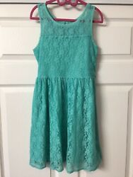 Girl's Justice Sleeveless Green Lace Party Formal Dress Size 10 VGUC $14.99