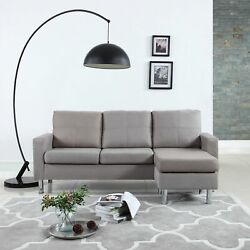 Modern Microfiber Sectional Sofa - Small Space Configurable (Grey) $279.99