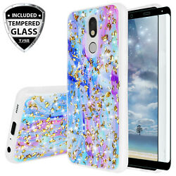 For LG Stylo 5 Plus 5x 5v Case Colorful Galaxy Marble Glitter TPUTempered Glass $8.95