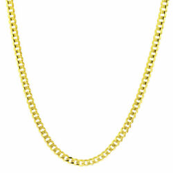 14K Yellow Gold 4mm Wide Solid Curb Cuban Chain Link Necklace Lobster Clasp 22quot; $489.73