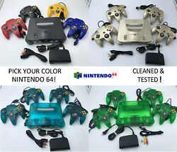 Choose Nintendo 64 Console Color + Up to 4 Controllers + Cords!  CLEANED N64! $219.95