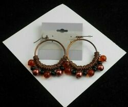 STUNNING COPPER BEADED HOOP PIERCED EARRINGS WITH