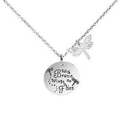 Quote Charm Necklace Silver Stainless Steel With Brave Wings She Flies Jewelry