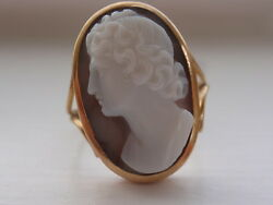 1820 Georgian Antique Agate Cameo Ring Female Bust Solid Gold with Noble Lineage