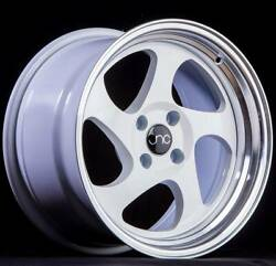 17x8 White Machine Lip Wheels JNC 034 JNC034 5x114.3 30 (Set of 4)
