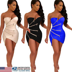 US Sexy Women Off Shoulder Bodycon Party Evening Cocktail Mini Dress Club