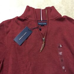 NEW mens tommy hilfiger 14 zip up pullover sweater red 06-19