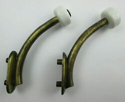 Pair of Contemporary Rustic Brass Finished Coat Hooks with Ceramic Protectors $8.50