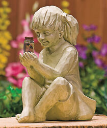Girl with Solar Lighted Fireflies Decorative Outdoor Statue Ceramic