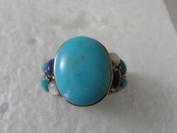 Sterling Silver Turquoise Lapis Mother of Pearl Gemstone Ring Bali Thailand Sz 9