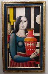 Excellent! Painting Oil on Canvas Fernand Leger French Painter Masterpiece !!