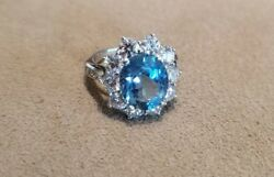 Estate Platinum Tiffany Diamond 3ct Aquamarine Ring with Box Retail $14000