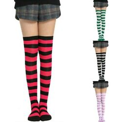 High Sheer Women#x27;s Girl Size Stockings Over Thigh Striped Knee Plus Socks The $3.51