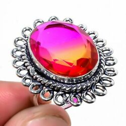 Excellent Bi-Colour Tourmaline Stone 925 Sterling Silver Ring Size 7.5 4273