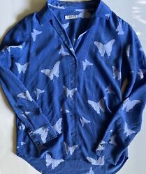 Equipment Femme 100% Silk Butterfly Print Blouse Size M
