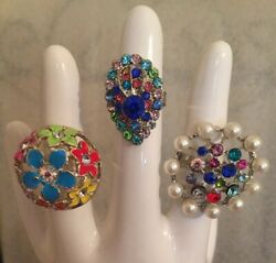 Lot Of 3 Oversized Large Dome Blingy Runway Statement Stretch Multicolored Rings