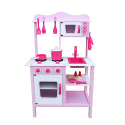 Kids Pretend Play Wooden Kitchen for Girl Cooking Food Playset Pink