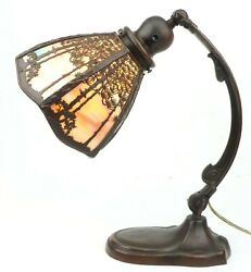Antique Handel Pine Tree Sunrise landscape desk lamp Slag Glass Shade w Bronze