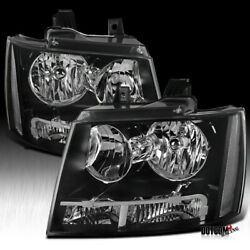 Fits Chevy 2007-2014 Avalanche Tahoe Suburban Black Headlights Lamps Left+Right $108.99