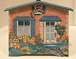 Painted Cottage w Mailbox Wood Jewelry and Music Box w Mirror and Two Shelves