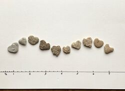 💕10 Naturally Heart Shaped Beach Stones .5-.75