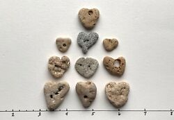 10 Natural❤️ Heart Shaped Beach Stones .5-1