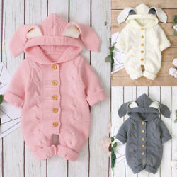 Newborn Infant Baby Winter Warm Coat Knit Rabbite Ear Outwear Hooded Jumpsuit $25.42
