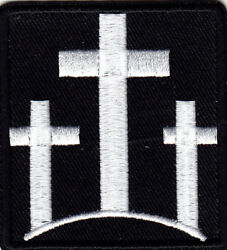 THREE CROSSES Iron On Patch Christian Religious