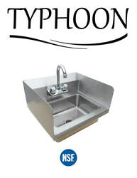 Wall Mount Hand Wash Sink Commercial Restaurant Stainless Steel Side Splashes $109.00