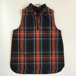 Ruffle-Neck Top In Stewart Tartan Cotton Poplin NWT Women's Size: 2 4 6 10