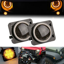 Pair Front Fender LED Side Marker Light Smoke Lens for 2007-18 Jeep Wrangler JK $15.99