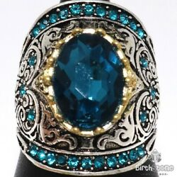 Antique 5 Ct Oval Aquamarine Ring Women Anniversary Jewelry White Gold Plated