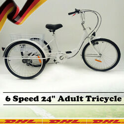 24inch 3-WHEEL 6-Speed Adult Tricycle Seniors Cruise Tricycle Trike Light Basket