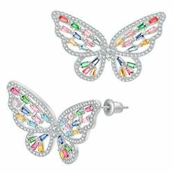 UMODE 18K White Gold Plated Colorful CZ Butterfly (White gold-colorful CZ)