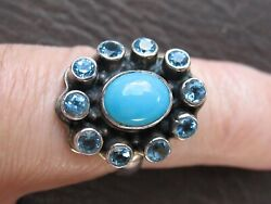 Gorgeous Nicky Butler Turquoise & Blue Topaz Ring 925 Sterling Silver Sz 8