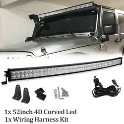 52quot;inch 700W Curved LED Light Barsamp; Harness Combo Offroad For Truck ATV 50 54quot; $54.99