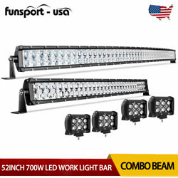 52inch Curved LED Light Bar 32#x27;#x27; Spot Flood Combo 4#x27;#x27; Pods Driving Fits Ford $92.99