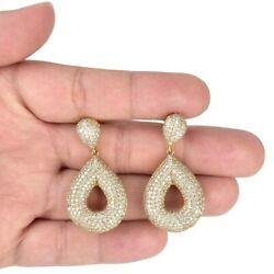 Modern  Round Brilliant Cut Diamond and 14 Kt Yellow Gold Pendant Earrings