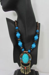Women Fashion Jewelry Antique Gold Metal Chain Wood Blue Beads Moroccan Necklace