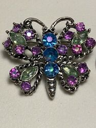 Vintage Jewelry BUTTERFLY Bright Colorful BROOCH PIN