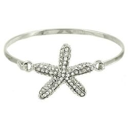 Starfish Bracelet Metal Bangle Hinge Rhinestones SILVER Beach Nautical Jewelry