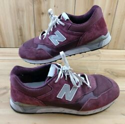Mens 15 2E New Balance Leather Suede Shoes Red Burgundy 496 Sneakers Wide RARE $34.95