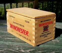 Winchester Small Arms Ammunition Vintage .22 Long Rifle X22LR Wooden Box Empty