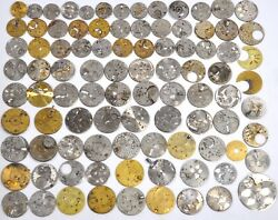 Huge 90 pcs Vintage Antique Pocket Watch Movement Pillar Plates Parts Lot #WL4