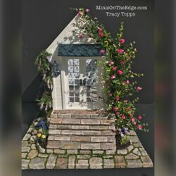 """CUSTOMIZED DOLLHOUSE SHE-SHED 1"""" scale OOAK Gothic Windows~Stream~Stones~Flowers"""