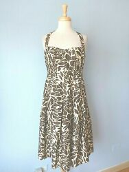 Evan Picone Cotton Brown Floral Print Pleated Sexy Halter Dress Party Women 8 M $13.99