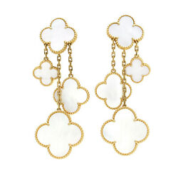 Van Cleef & Arpels Magic Alahambra 4 Motif Mother of Pearl Earrings VCARD78900