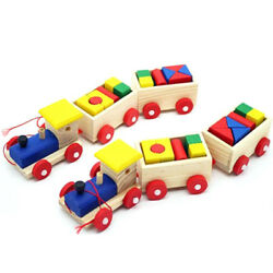 Colorful Wooden Small Train Building Blocks Intellect Educational Blocks Baubles